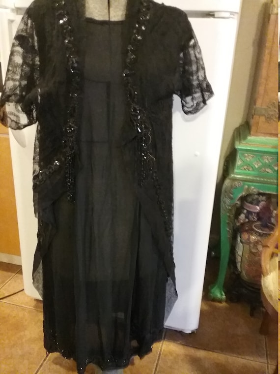 Victorian silk beaded dress