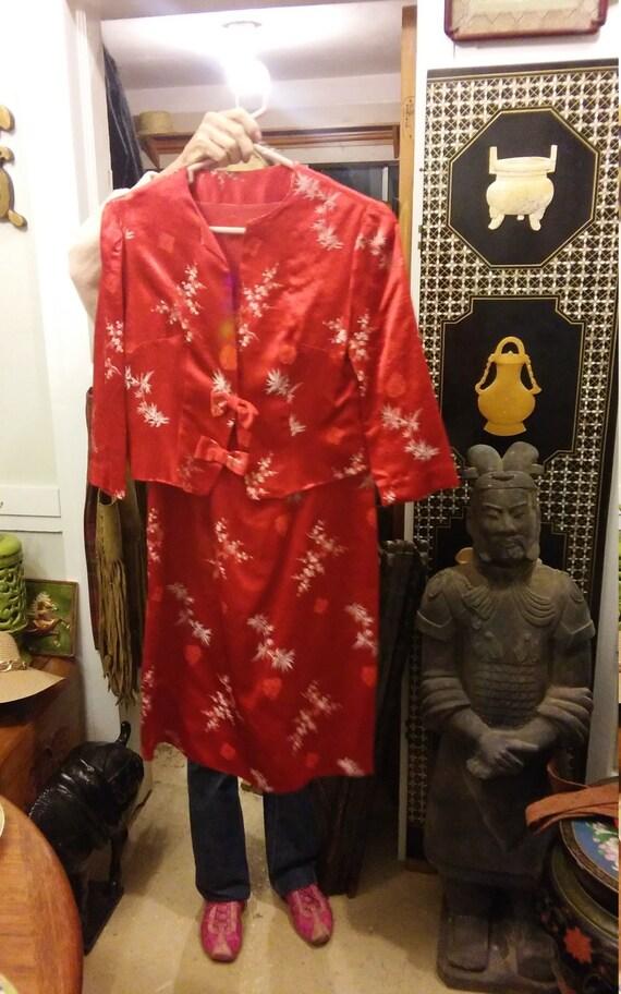 Red silk brocade suit