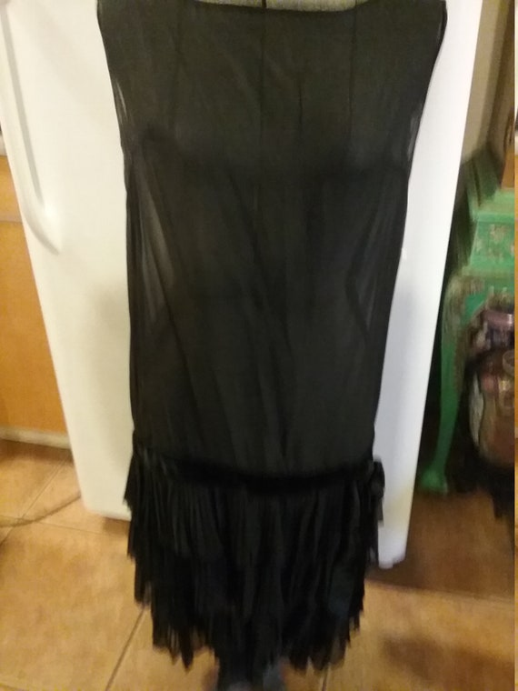 Black sheer flapper dress