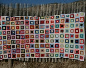 Gorgeous french vintage afghan blanket, DOMINO, made with granny squares, bright colors, white edges.