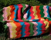 French vintage handmade crocheted afghan MEXICO, with chevrons, multicolored stripes.