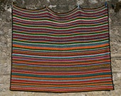 Crocheted retro french vintage afghan, multicolored stripes, GINGKO, bayadere style, warm colors, pink, yellow, art and crafts