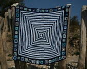 New crocheted blue french afghan ROYAN , 2 kinds of granny squares, 30 wool blue edges, shades of blue