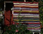 Angélique Nice french vintage afghan blanket crocheted stripes, crocheted multicolored lace.