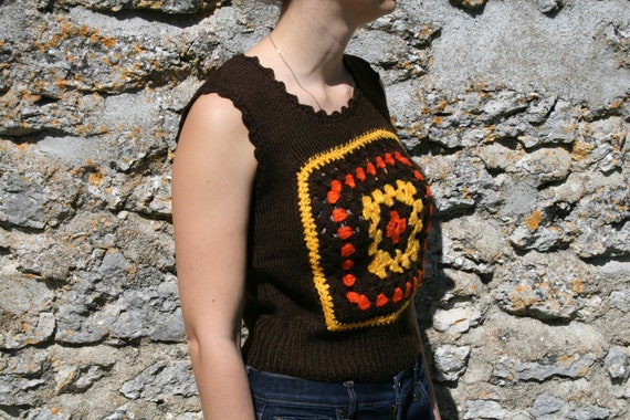 BROWNIE Vintage handmade crocheted and knitted  ve