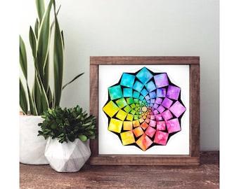 flower, christmas gift, flower mandala print, geometry flower, sacred geometry print, mandala, meditation, halloween gift, yoga flower print