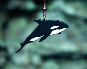 Whale Song in the Deep - Hand Painted Wooden Whale Necklace