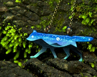 Mountain Wolf- Hand Painted Necklace- One of a Kind