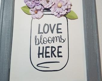 Love Bloom Here Reverse Canvas