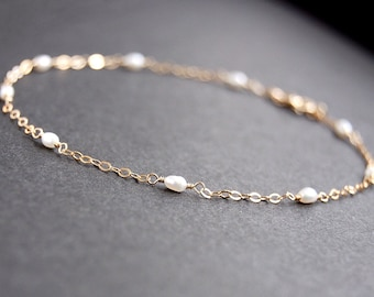 6792603cc71 Gold Multi Pearl Anklet - dainty gold anklet