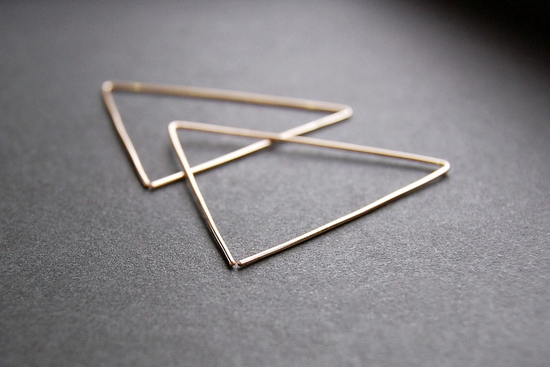 5615278fd15c1 Large Triangle Earrings - triangle hoop earrings, gold hoop earrings, large  hoop earrings, minimalist earrings, modern earrings, large hoops