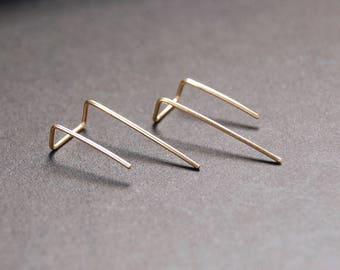 Long Double Piercing Threader Earrings - gold filled earrings, gold earrings, silver earrings, minimalist earrings, wire earrings