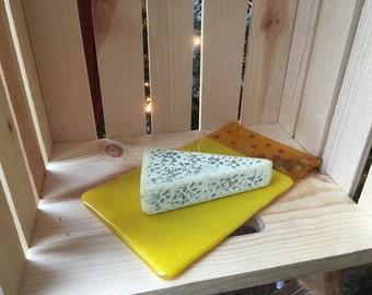Fused Glass Cheese Tray Yellow Orange