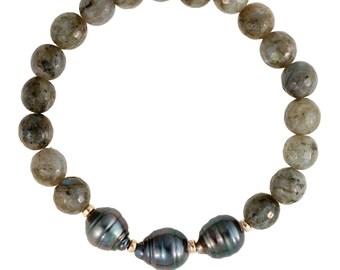 Tahitian Labradorite Bracelet, Pearl Bracelet, Tahitian Pearl Jewelry, Stretchy Bracelet ,Gift, Hawaii Jewelry, Beach Jewelry, Kaua'i