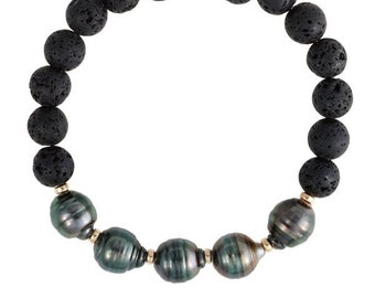 Tahitian Bracelet, Lava Bracelet, Pearl Jewelry, Stretchy Bracelet, Tahitian Pearls, Bridesmaids, Gift, Hawaii Jewelry, Lava Jewelry, Black