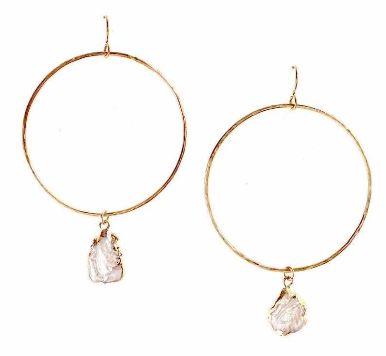 Keshi Pearl Hoop Earrings image 0