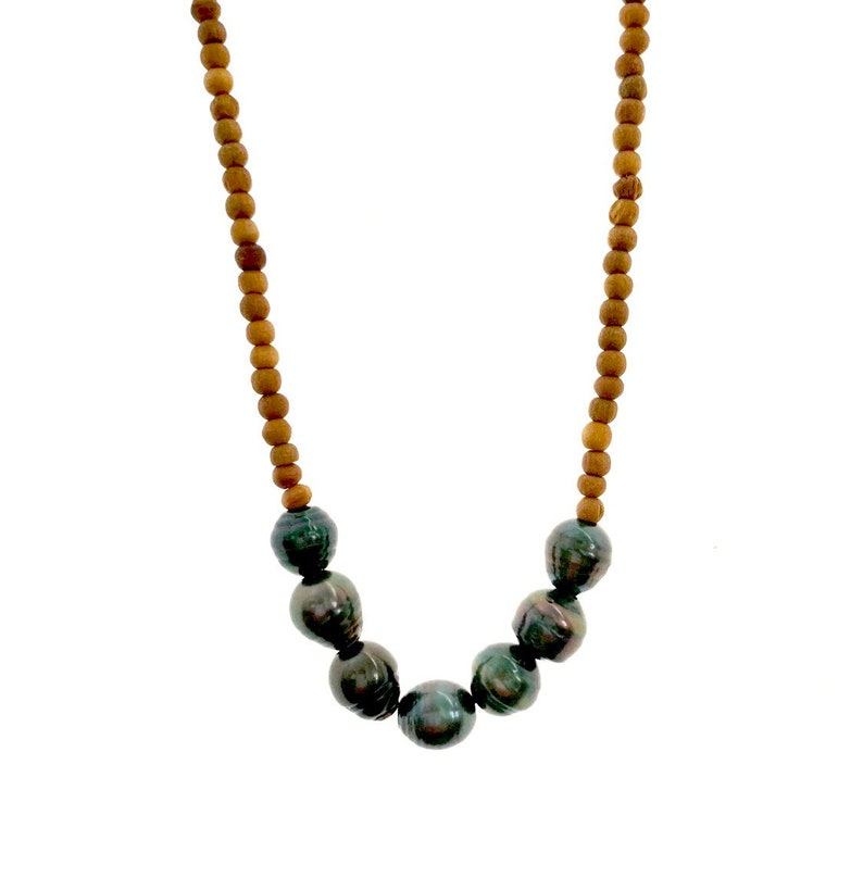 Tahitian pearl Sandalwood Necklace image 0