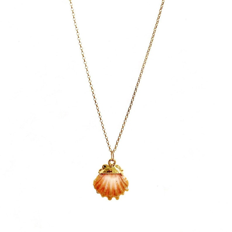 Sunrise Shell Necklace Small Sunrise Shell Gold Dipped image 0