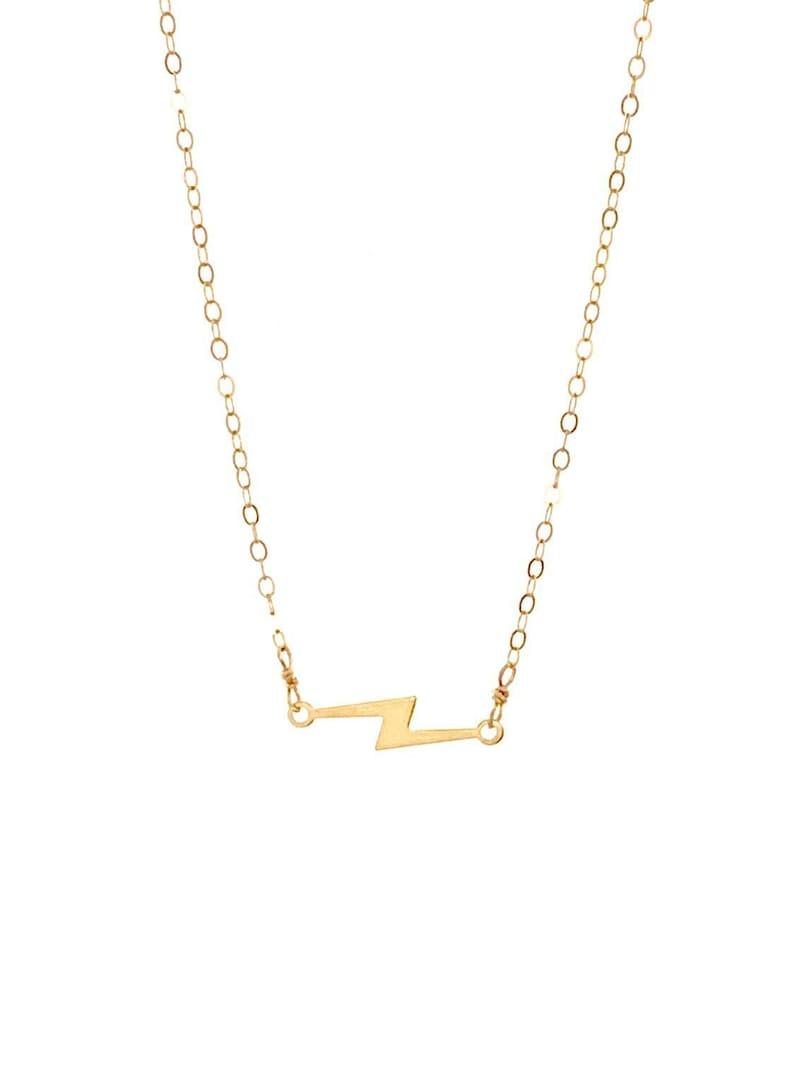 Lightning Bolt Necklace Short Necklace 14K Gold Fill image 0