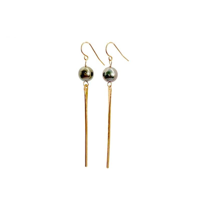 Tahitian Pearl Spike Earrings image 0