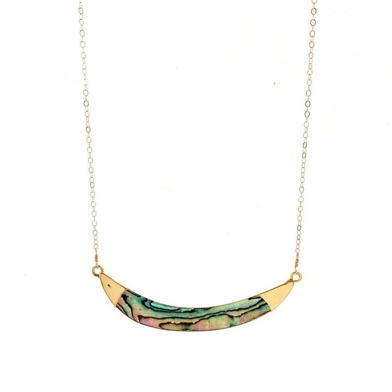 Abalone Bar Necklace Paua Shell Hawaii Jewelry image 0