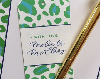 Gift TagLuggage Tag Personalized Gift Wrap Animal Print Cheerful Cheetah