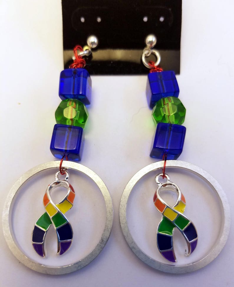Pride ribbon computer hard drive spindle ring earrings image 0