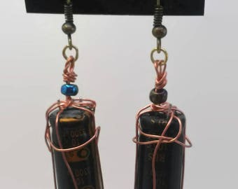 Wire wrapped capacitors earrings