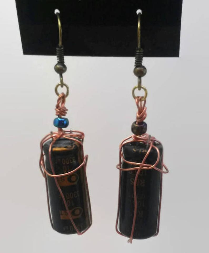 Wire wrapped capacitors earrings image 0