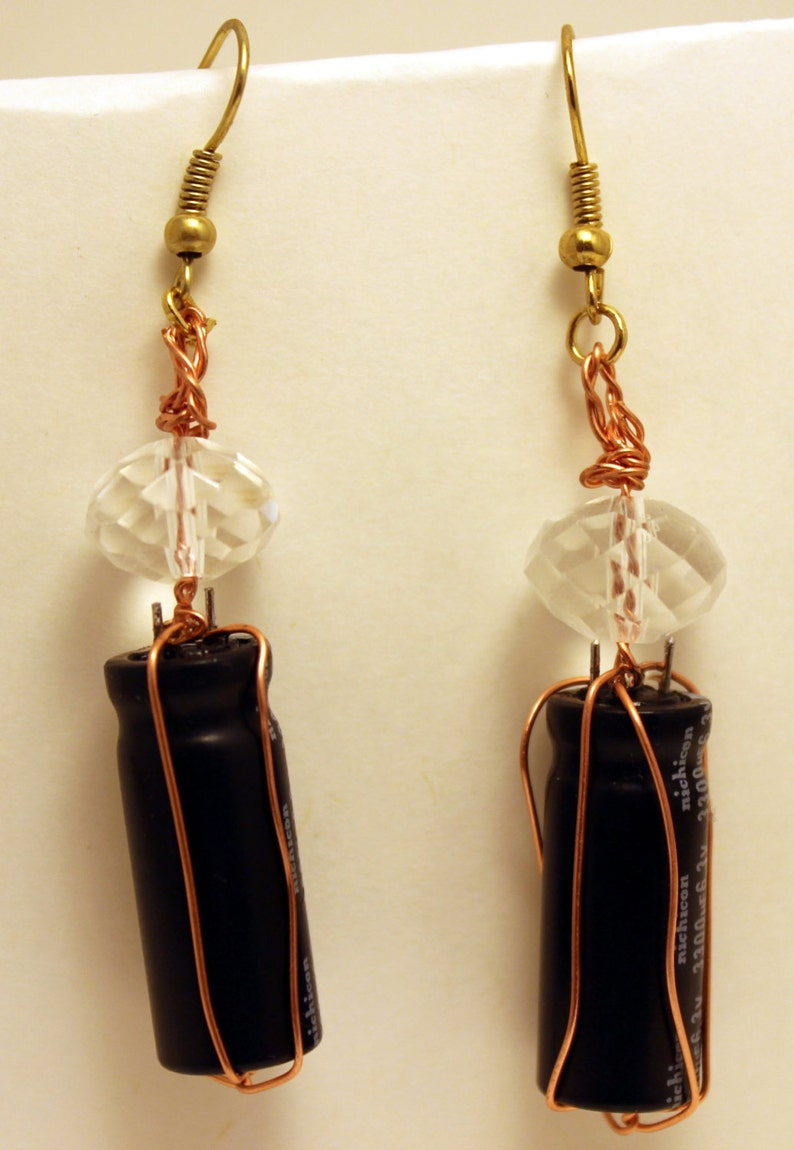 Wire wrapped capacitor earrings image 1