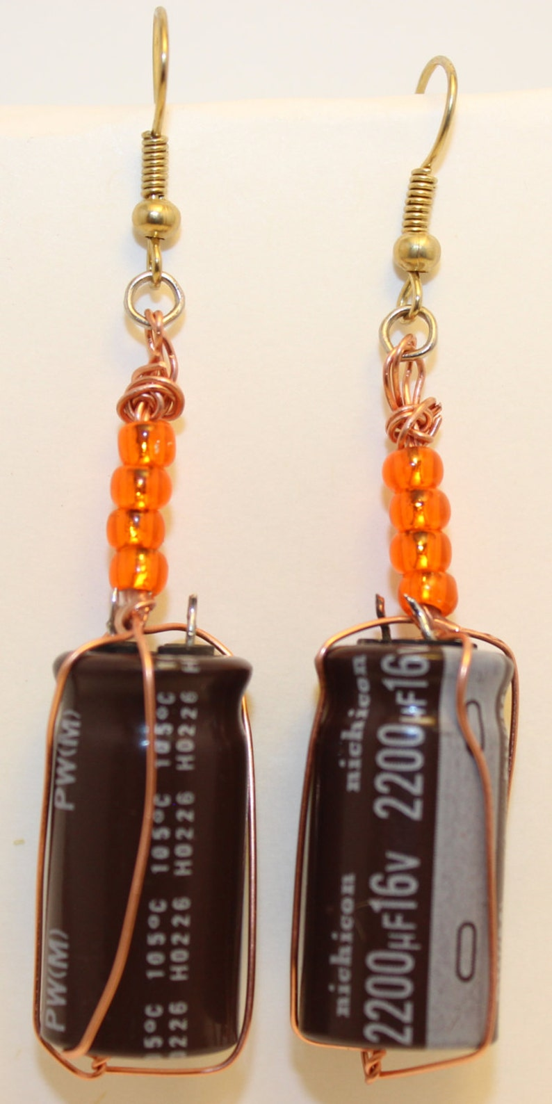 Wire wrapped capacitor earrings image 0