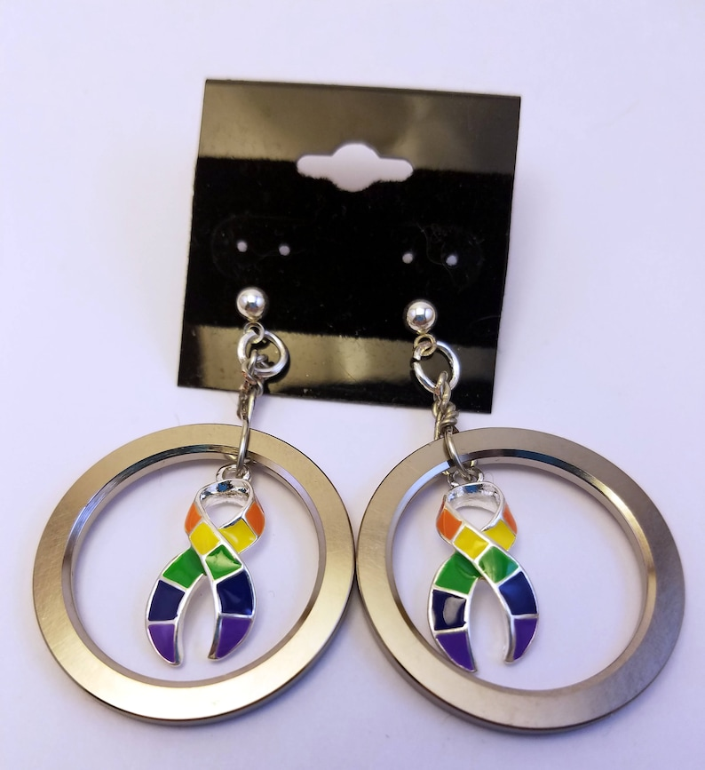 Pride ribbon computer hard drive spindle earrings image 0
