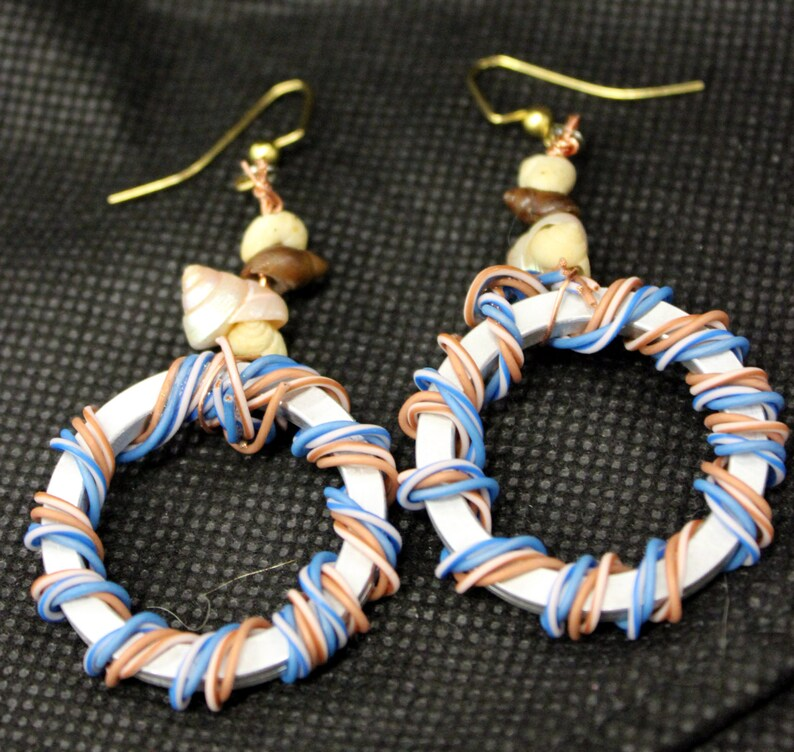 Hard drive spindle ring earrings with sea shells image 1