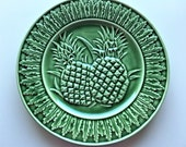 Vintage Decorative Plate Green Pineapple Plate Hospitality Symbol Welcome Decorative Plate Bordallo Pinneiro Made in Portugal Free Shipping