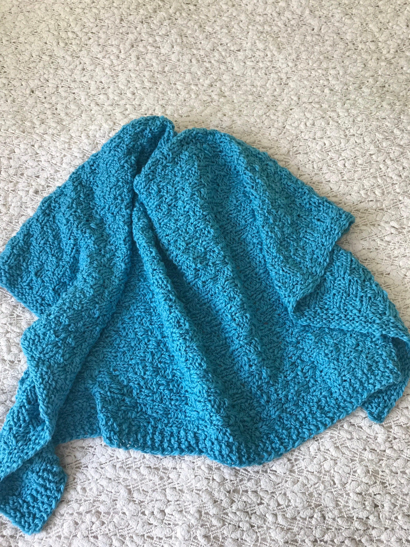 Eco organic cotton baby blanket  hand knit baby blanket aqua