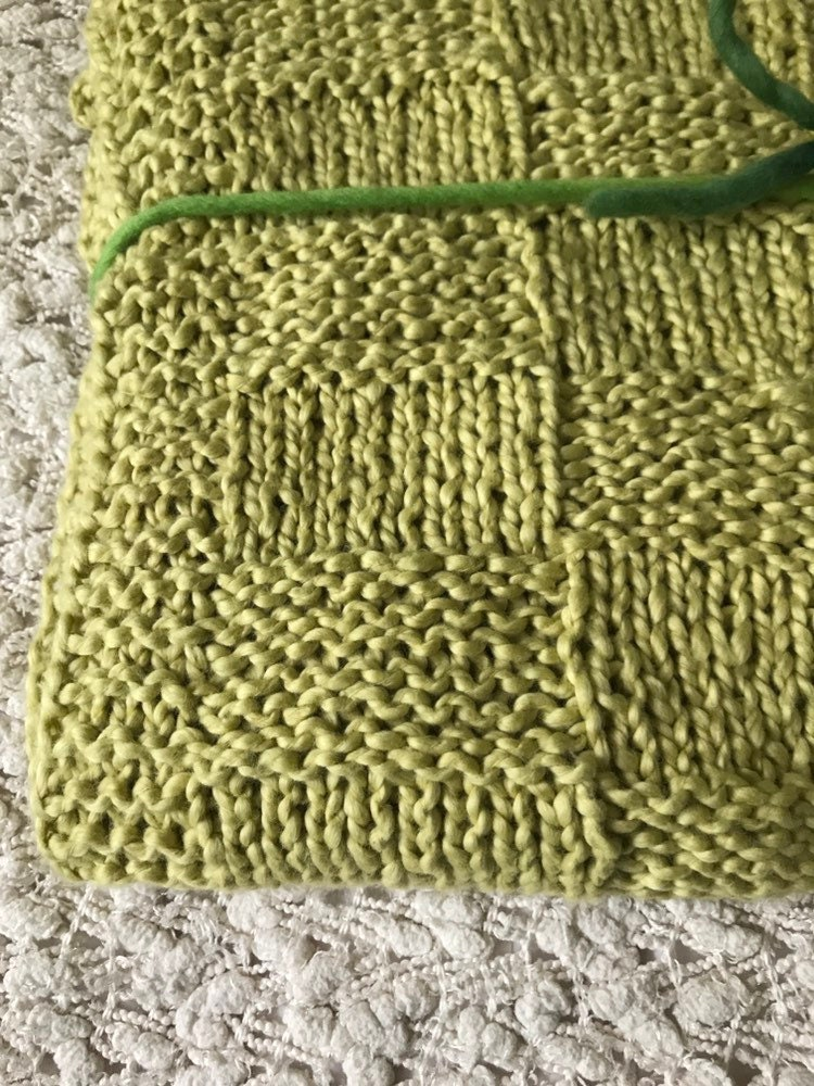Knit Green Baby Blanket  Organic Cotton Baby Blanket  Gender