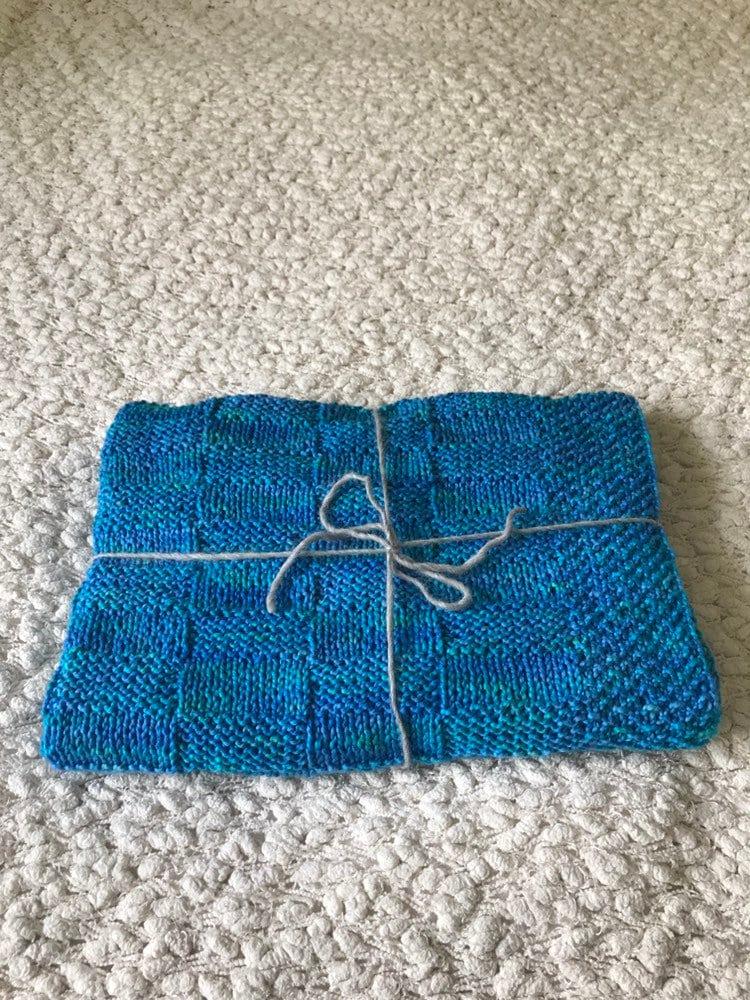 Hand Knit Baby Boy Blanket Knit Cotton Baby Blanket Peruvian