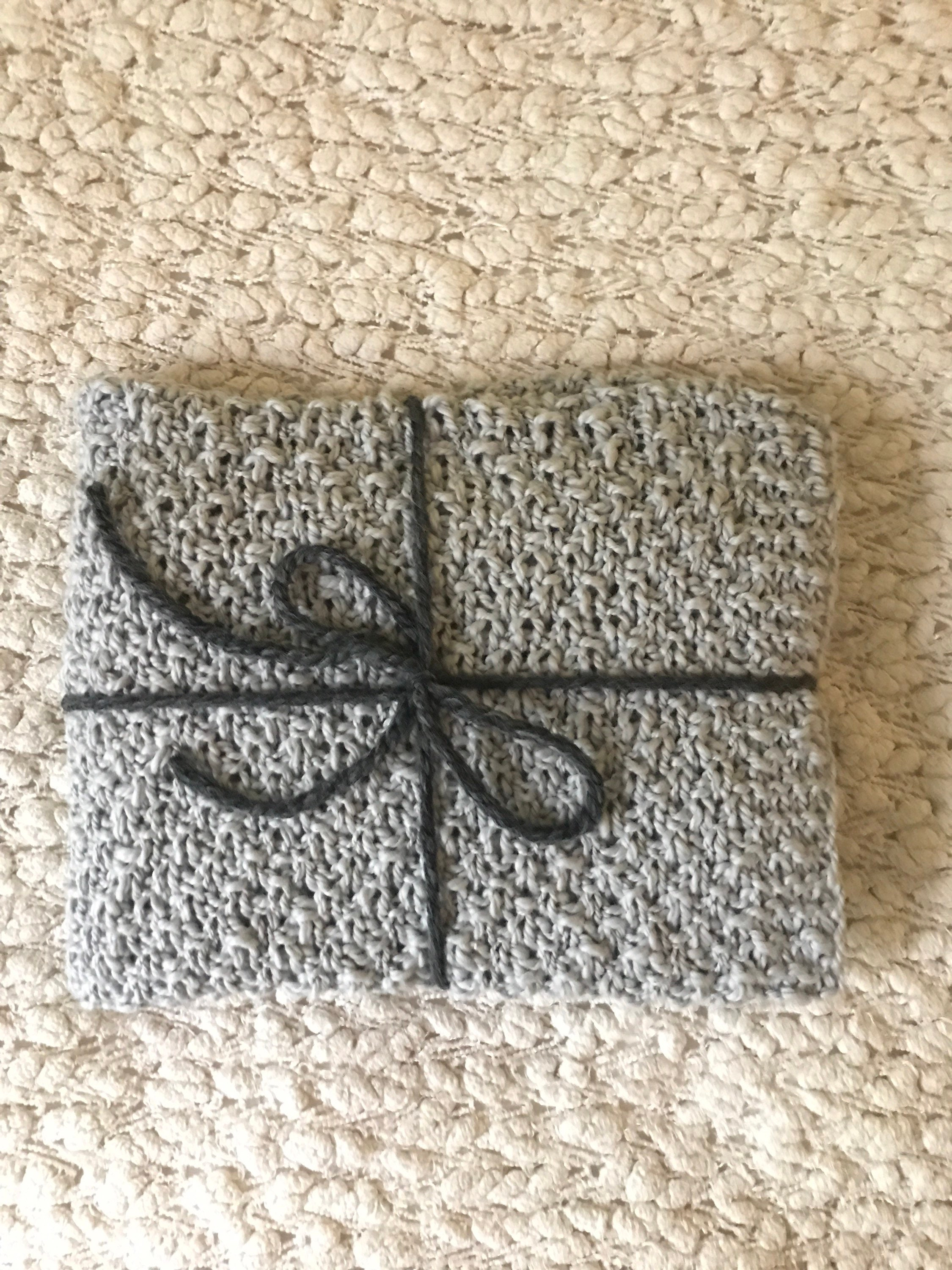 Organic cotton baby blanket Hand knit gray baby blanket Eco