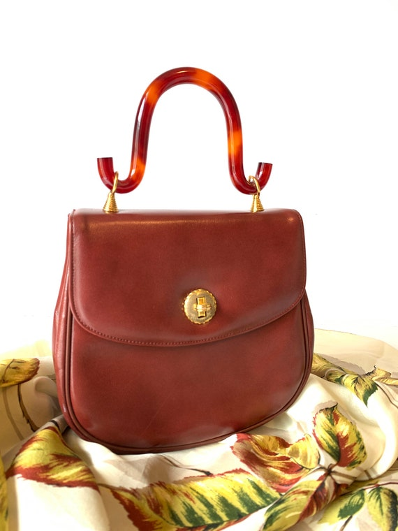 Vintage Pappagallo Purse, Small Handbag, Red Brown