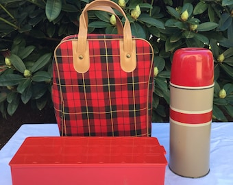 Vintage Thermos Set, Holtemp Thermos Set, Tailgate Picnic Pack, Travel Trailer Thermos Set, Hot Coffee Thermos, Soup Thermos, Picnic in Park