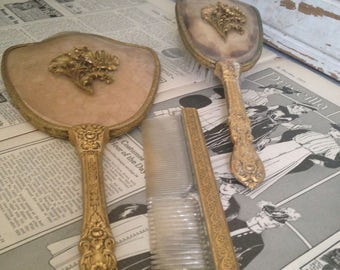 1920's ladies vanity set,Victorian boudeau mirror brush and comb set,ornate brass,bakelite,beveled glass,wall decor,collector,home decor