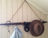 antique hanging Wall Coat Rack,reclaimed horse yoke,hat rack,coat hook hanger,farm salvage,rustic ranch,foyer organizer,backpacks,man cave,
