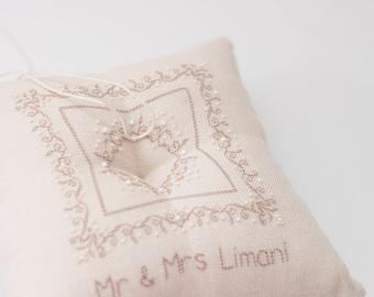 Personalized Ring Bearer Pillow, Custom Wedding Ring Pillow, wedding ring pillow, ring bearer, ivory ring pillow, rustic wedding,