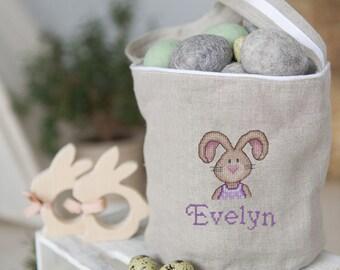 Easter basket girl, Personalized Easter Basket, girls basket, boys basket, girls Easter basket, monogram Easter basket, linen Easter basket