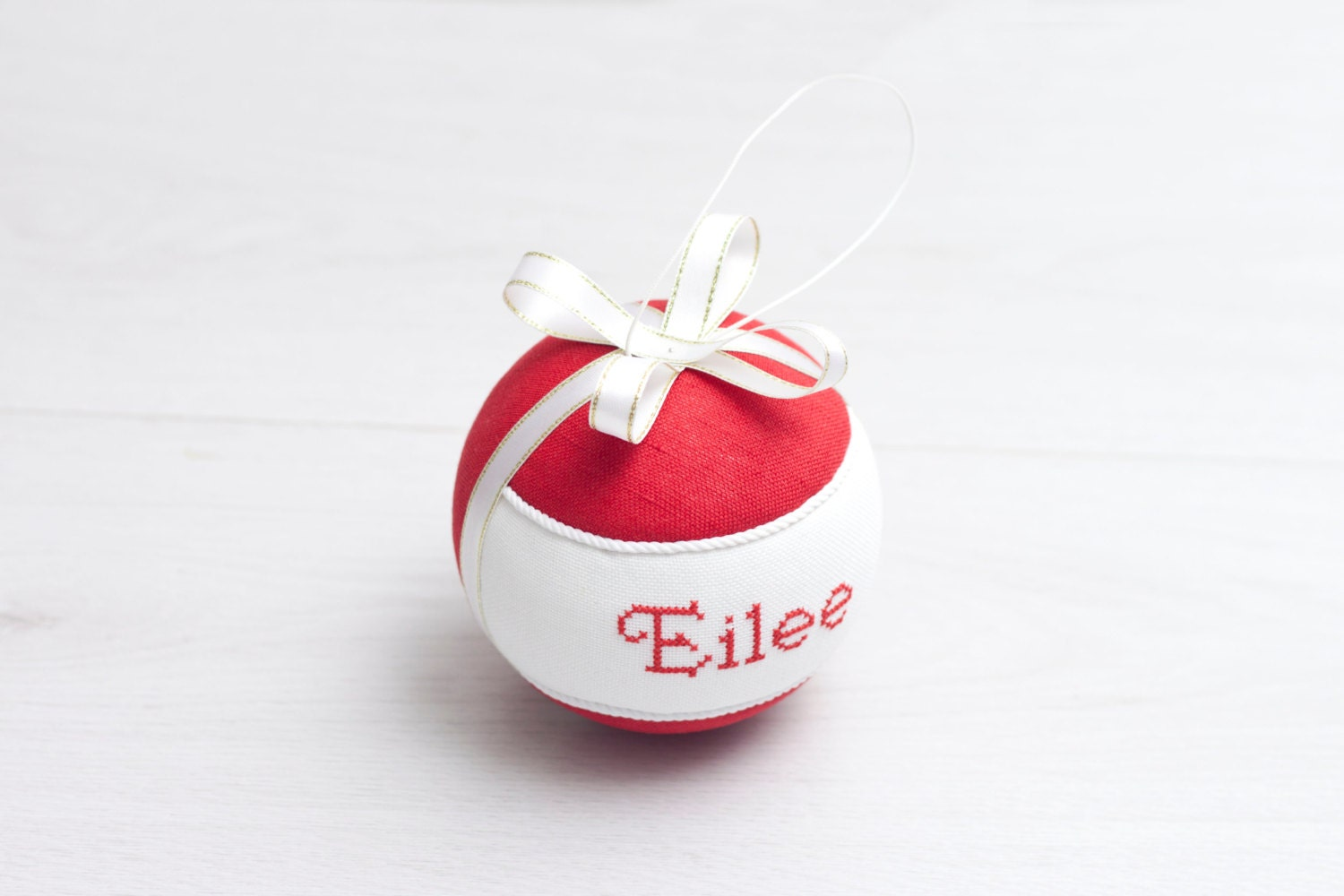 PERSONALISED Name Christmas Tree Ornament Red White Custom