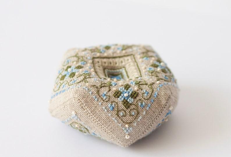 Pin cushion  biscornu with cross stitch flowers image 0