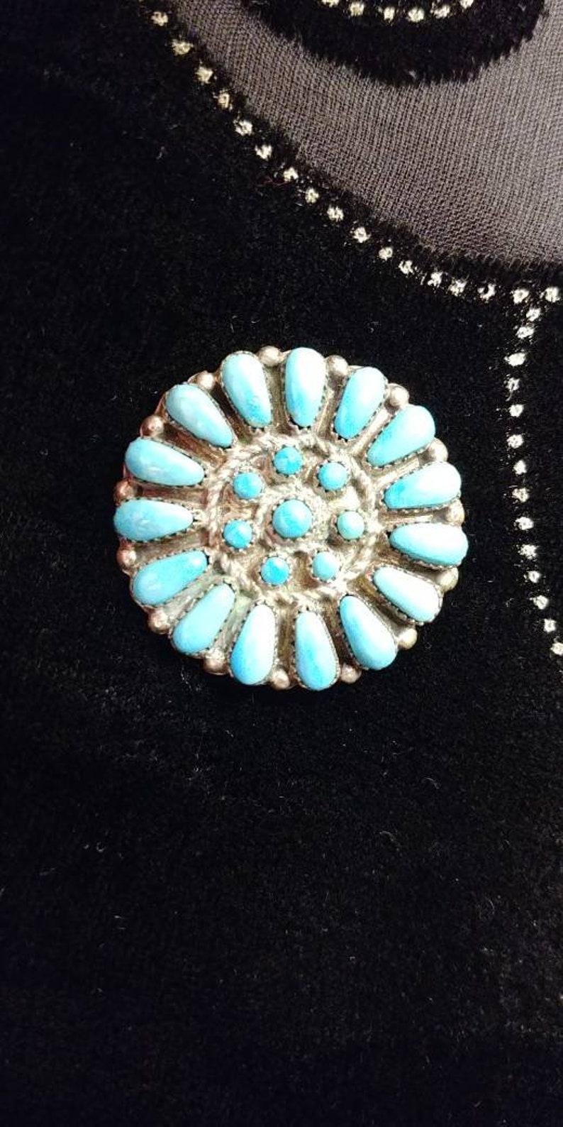 Marcine Stead Zuni Sterling Silver Turquoise Petit Point Cluster Post Earrings