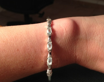 Dainty Sterling Silver and Blue Topaz Bracelet