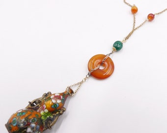 Vtg gold filled chain /& antique Chinese small green cloisonne gourd agate Bi pendant   necklace