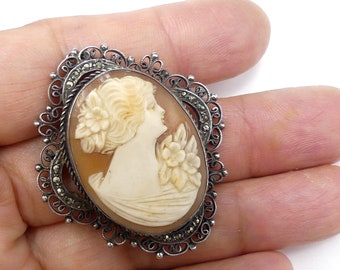 Antique Mythological Carved Cameo Silver 800 Marcasite Brooch Pin